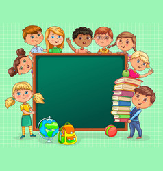 Cute kids with school board and books blank banner vector
