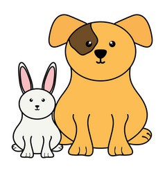 cute little rabbit with dog vector image