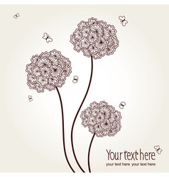 Cute picture with hand-drawn flowers and butterfli vector