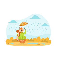 cute squirrel walking with umbrella under rain vector image