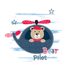 Cute with pilot bear vector