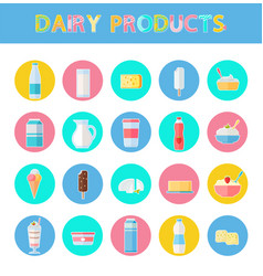 diary products icons set vector image