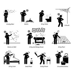 Dirty and messy house stick figure pictogram vector
