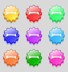 Dog bone icon sign symbol on nine wavy colourful vector
