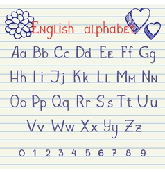 Drawing english alphabet vector image