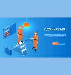Electrician service horizontal banner vector
