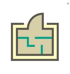 engineering drawing plan icon design 48x48 vector image
