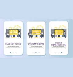 error pages mobile app onboarding screens vector image