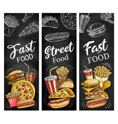 Fast food burgers hot dogs soda drink and pizza vector