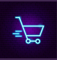 Fast shopping cart neon sign vector