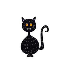 Flat halloween witch black cat vector