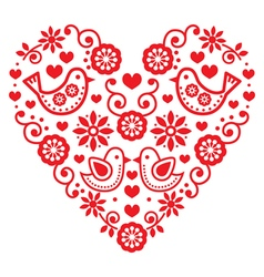 Folk art Valentines Day heart - love wedding vector