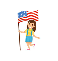 girl holding national flag of united states of vector image
