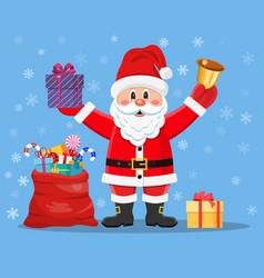 happy santa claus with presents vector image