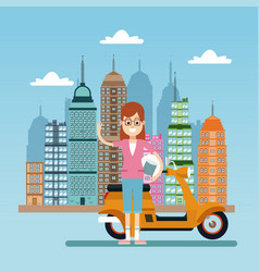 Happy woman with scooter city background vector