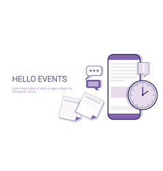 Hello events time schedule business concept web vector