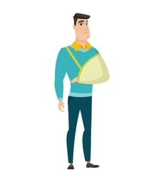 Injured businessman with broken arm vector