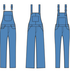 Jean overalls set vector