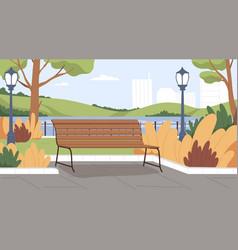 Landscape empty urban public park with wooden vector
