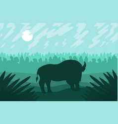 Landscape with wild bizon on field vector