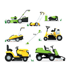 Lawn mover machine with engine and mechanical vector