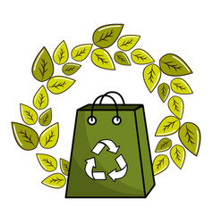Leaves and bag with recycling symbol inside vector