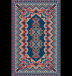 Luxurious oriental carpet in red and blue shades vector