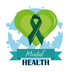 Mental health day ribbon in green heart world vector
