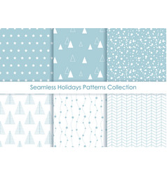 Minimalist seamless holidays prints collection vector
