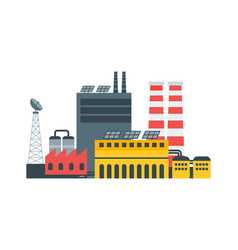 modern ecological factory with solar panels vector image