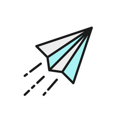 paper plane origami airplane flat color vector image