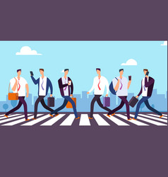 people on crosswalk businessmen walking city vector image