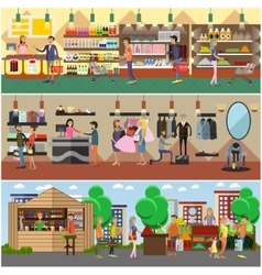 People shopping in a store and local market vector