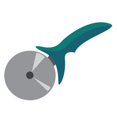 Pizza cutter with a silver wheel and a vector