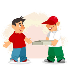 Pizza delivery man and customer vector