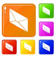 postal letter icons set color vector image
