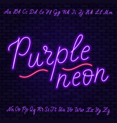 Purple neon script uppercase and lowercase vector