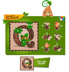 Puzzle letters of the alphabet q vector