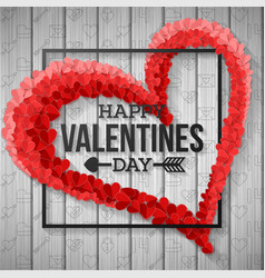 red paper heart valentines day card vector image
