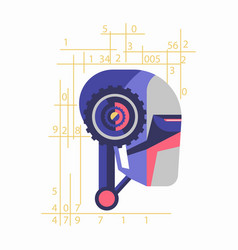 robotic head with numerals vector image vector image