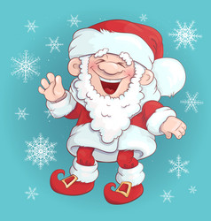 santa claus stand and smile cartoon christmas vector image