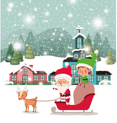 santa clous and helper with sled vector image