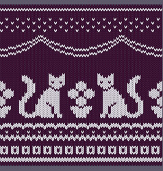 seamless knitted pattern with cats vector image