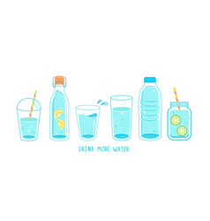 Set clean and fresh water in bottles glasses vector