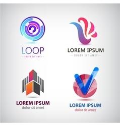 Set of abstract logos company icons vector