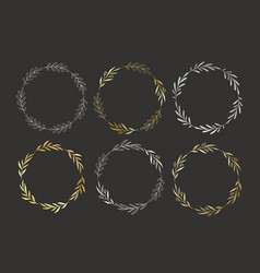 set of golden and silver hand drawn round vector image