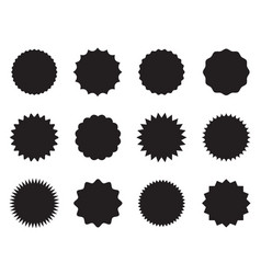 set round stickers with different edges black vector image