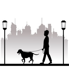 Silhouette man with dog walking park city vector