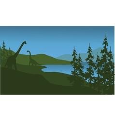 Silhouette of brachiosaurus in lake vector