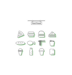 simple set fast food vector image